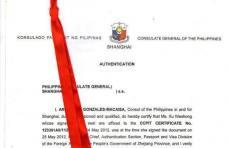 菲律宾使馆认证样本