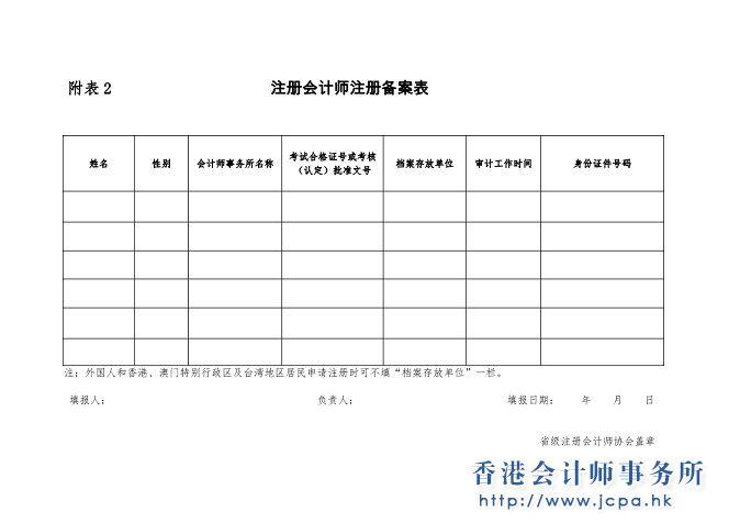 注冊會計師注冊備案表