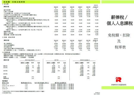 薪俸税/个人入息课税 免税额、扣除及税率表