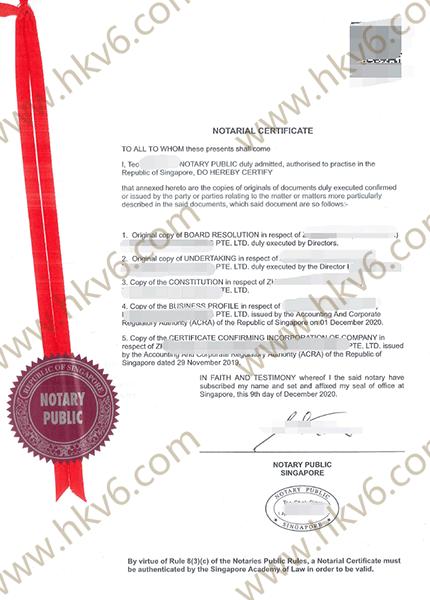 新加坡公司文件公证认证书用于巴基斯坦成立公司1