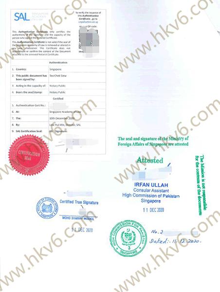 新加坡公司文件公证认证书用于巴基斯坦成立公司2