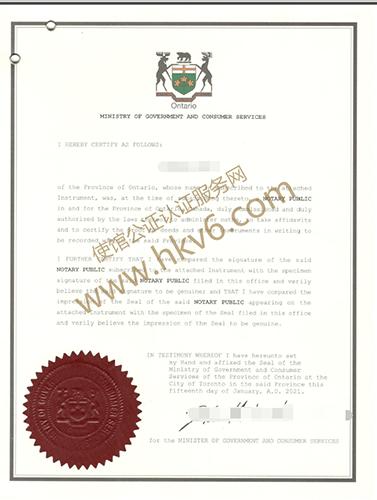 加拿大同一人声明公证认证样本1